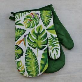 Kuchynské rukavice zelené listy