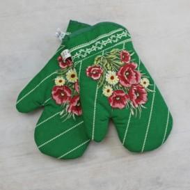 Kuchynské rukavice vlčie maky - zelená