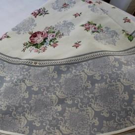 Gobelínový  ubrus Romantické květy šedé kruh 165cm