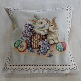 Gobelínová obliečka veľkonočná  zajačiky 45x45cm