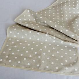 Bavlnený obrus béžový s bielymi bodkami