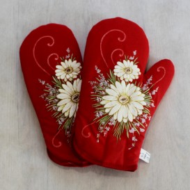 Kuchynské rukavice vlčie margaréty - červená