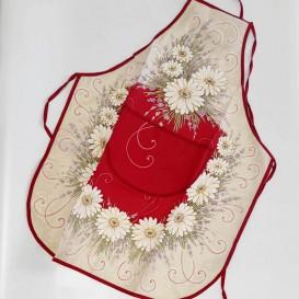 Kuchyňská zástěra Kopretiny - červené