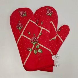 Kuchynské rukavice ruže - červená