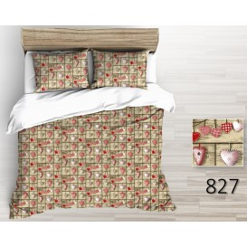 Bavlnené posteľné prádlo Srdiečka hnedé 140x200 + 70x90cm Zips