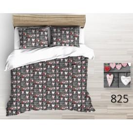 Bavlnené posteľné prádlo Srdiečka sivé 140x200 + 70x90cm Zips