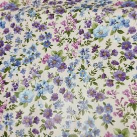 PVC ubrus drobné květy modré,lilavé š.140cm