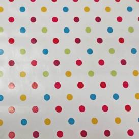 PVC obrus farebné bodky   š.140cm