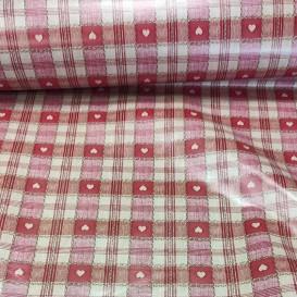 PVC ubrus červený - srdíčka š.140cm