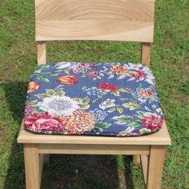 Podsedák na stoličku modrý - Farebné kvety