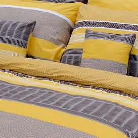 Posteľné obliečky bavlnené Sivožlté kruhy