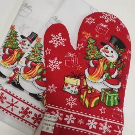 Kuchynský set 2+1 vianočný snehuliak/sob červený