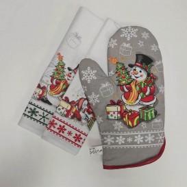 Kuchynský set 2+1 vianočný snehuliak/sob zelený