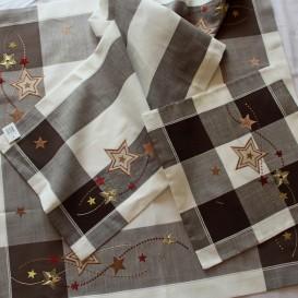 Vianočný vyšívaný obrus hnedý 4863 40x85cm