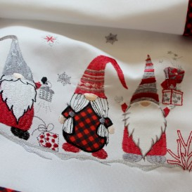 Vianočný vyšívaný obrus škriatkovia 4856 40x160cm