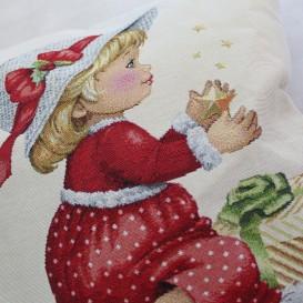 Gobelínová obliečka Dievčatko s darčekom 45x45
