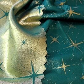 Obojstranný teflónový obrus Veľké hviezdy zeleno/zlatý