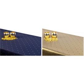 Obojstranný teflónový obrus Bodky modro/zlatý