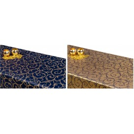 Obojstranný teflónový obrus Špirály modro/zlatý