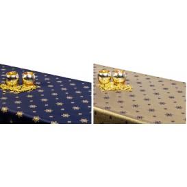 Obojstranný teflónový obrus Vločka modro/zlatý