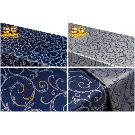 Obojstranný teflónový obrus Ornament modro/strieborný
