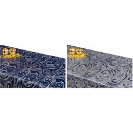 Obojstranný teflónový obrus Špirála modro/strieborný