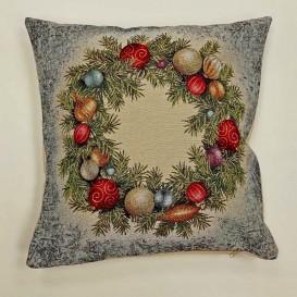 Gobelínová obliečka Vianočný veniec 2  45x45cm