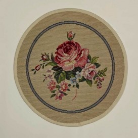 Gobelínový obrus Romantické ruže bežove  kruh 27cm
