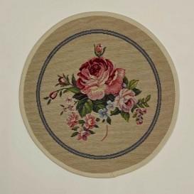Gobelínový  ubrus Romantické ruže bežové  kruh 27cm