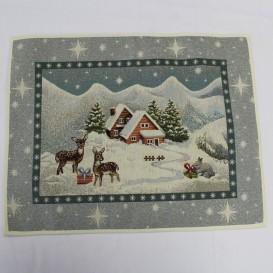 Gobelínový obrus vianočný Srnky na chate 40x50cm