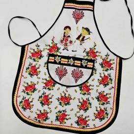 Kuchynská zástera Folk - biela