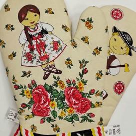 Kuchyňské rukavice Folk - smotanová