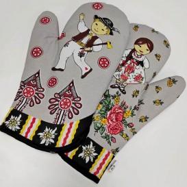 Kuchyňské rukavice Folk - šedá