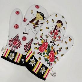 Kuchyňské rukavice Folk - kávová