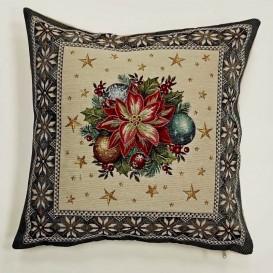 Gobelínová obliečky Vianočná ruža - sivá 45x45cm