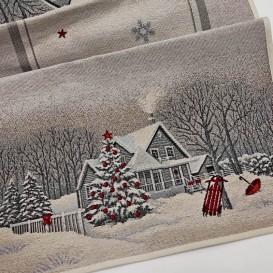 Gobelínová štóla Sivé Vianoce  40x100cm