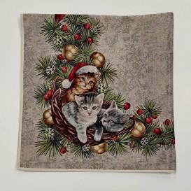 Gobelínový obrus Kočičí Vánoce 100x100cm