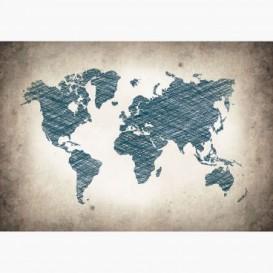Fototapeta - FT6008 - Kreslená mapa světa