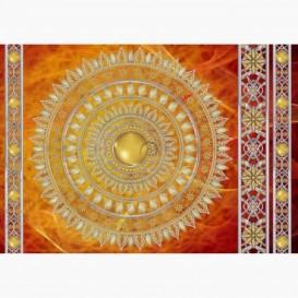 Fototapeta - FT6060 - Zlatá mandala - oranžový podklad
