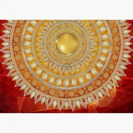 Fototapeta - FT6061 - Zlatá mandala - oranžový podklad