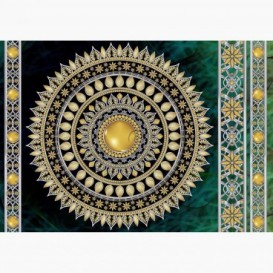 Fototapeta - FT6062 - Zlatá mandala - modro-zelený podklad
