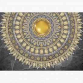 Fototapeta - FT6063 - Zlatá mandala - sivý podklad