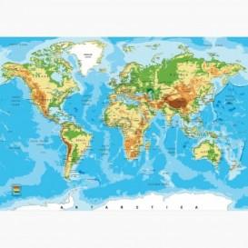 Fototapeta - FT6109 - Zeměpisná mapa světa