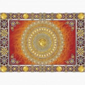 Fototapeta - FT6148 - Zlatá mandala - oranžové pozadí