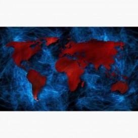 Fototapeta - FT6187 - Červeno-modrá mapa světa