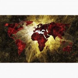 Fototapeta - FT6190 - Červeno-zlatá mapa světa