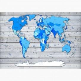 Fototapeta - FT6427 - Modrá mapa světa