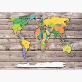 Fototapeta - FT6428 - Mapa světa na deskách
