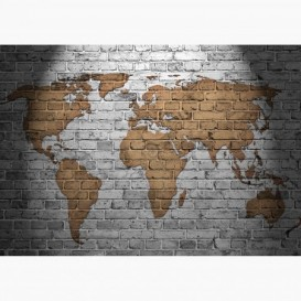 Fototapeta - FT6434 - Mapa sveta na tehlovom múre