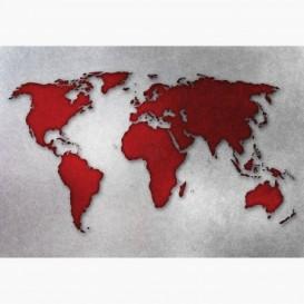 Fototapeta - FT6435 - Červeno-bílá mapa světa